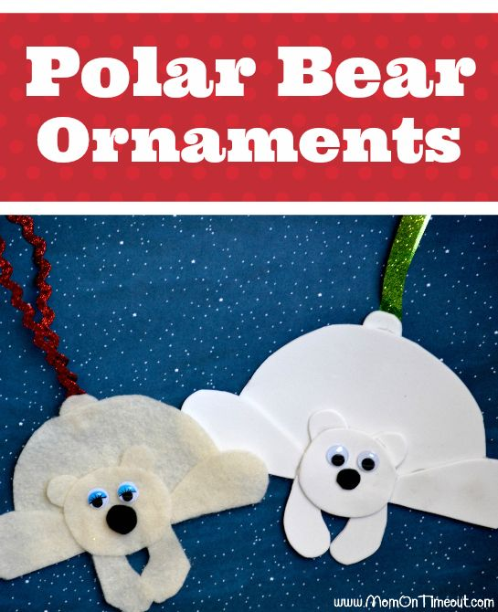 Easy to make polar bear ornaments are the perfect craft for kids this holiday season! | MomOnTimeout.com #craft #Christmas #gift #giftidea