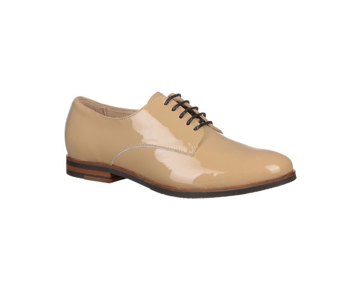 Pantofi fara toc din piele naturala lacuita, de dama - Pantofi Marca HINSON.