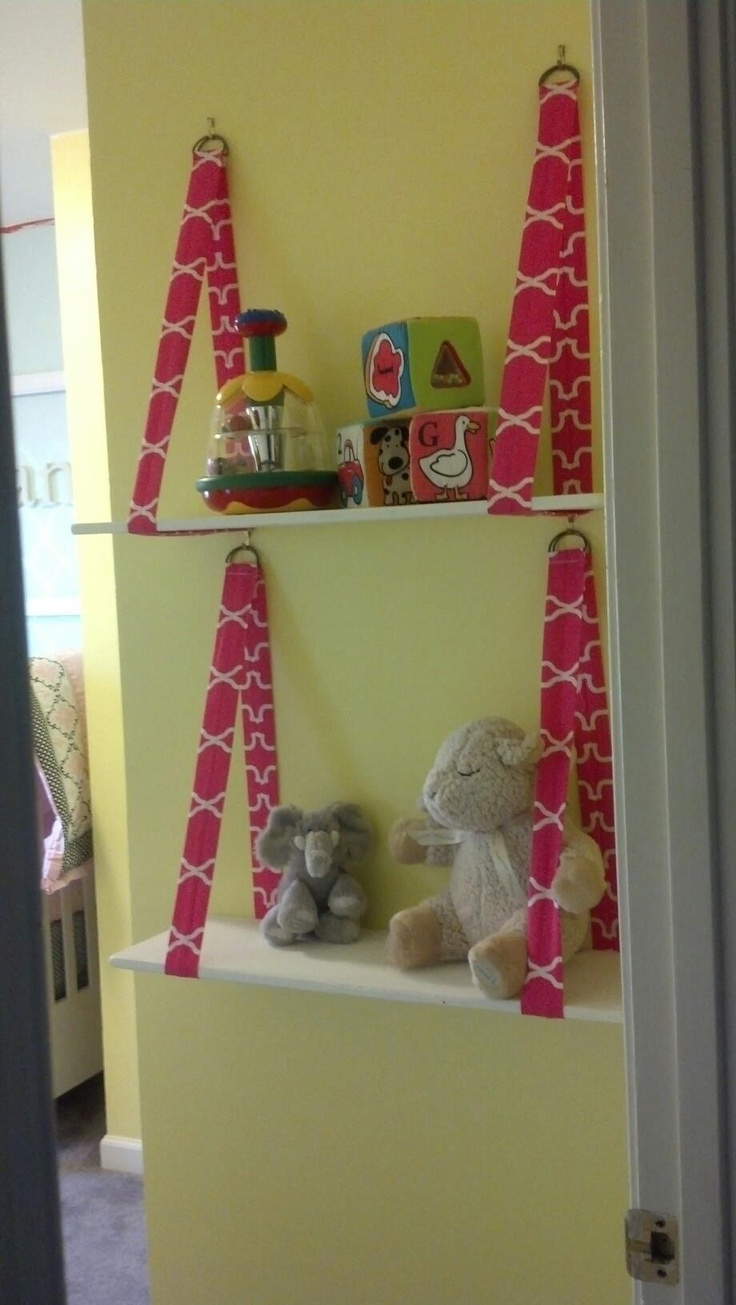 Fabric strap shelves for toys and stuffed animals