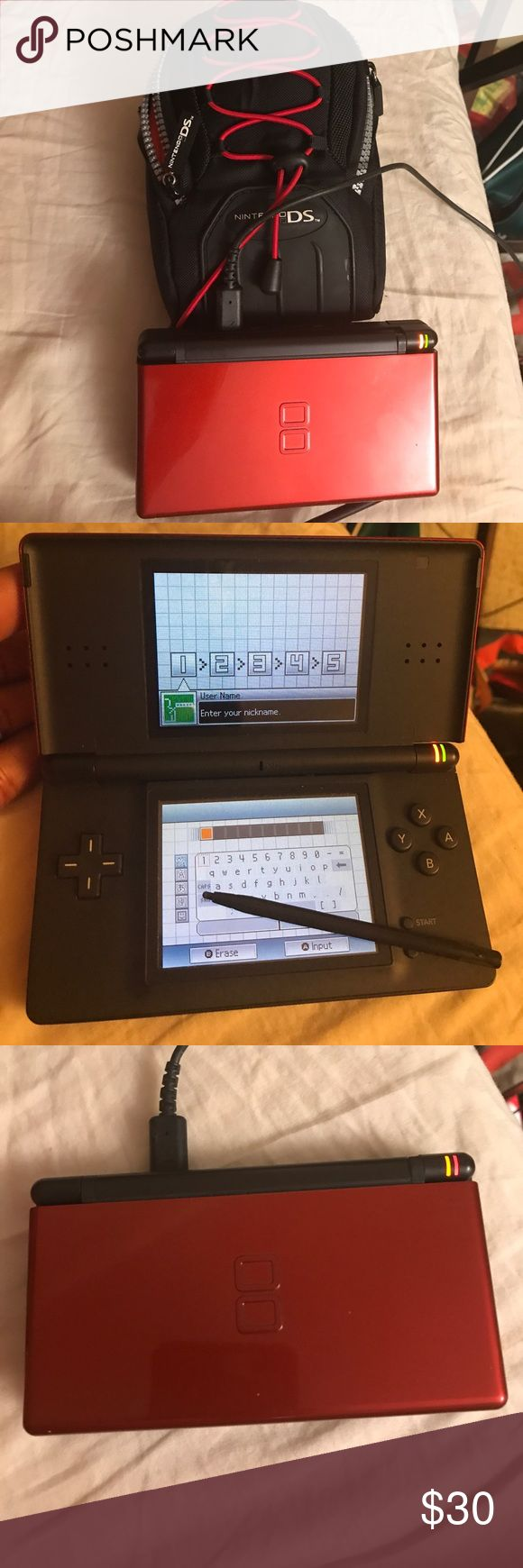 Nintendo DS lite Red Red in mint condition. Tested and works comes with stylus -bag and ac adapter charger Nintendo Other