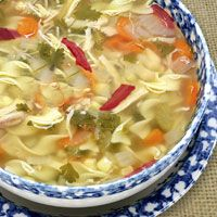 Even if you don't have much chicken left over, you can still prepare Warming Chicken and Asian Vegetable Soup. This chicken noodle soup with fresh ginger, snow peas, and mint is healthy as well as yummy.
