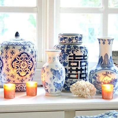 Blue and white is always a classic color combination and can be incorporated in so many different styles of décor. It looks amazing grouped together in a collection. The use of blue and white pieces can be main design theme throughout a home, or just an accent. You can add in gorgeous white coral and nautical-themed accessories to add a coastal vibe. Blue and white also mixes well with the Asian artwork and antique furniture, but this color combination is timeless and can be using in mod