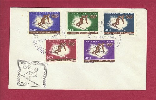 1963 PARAGUAY - OLYMPIC GAMES, Skiing, Lake Placid #6310-6314, FDC