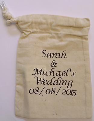 Personalised Cotton Westford Mill Drawstring Wedding/Favour/Gift Bags 20cmx 14cm