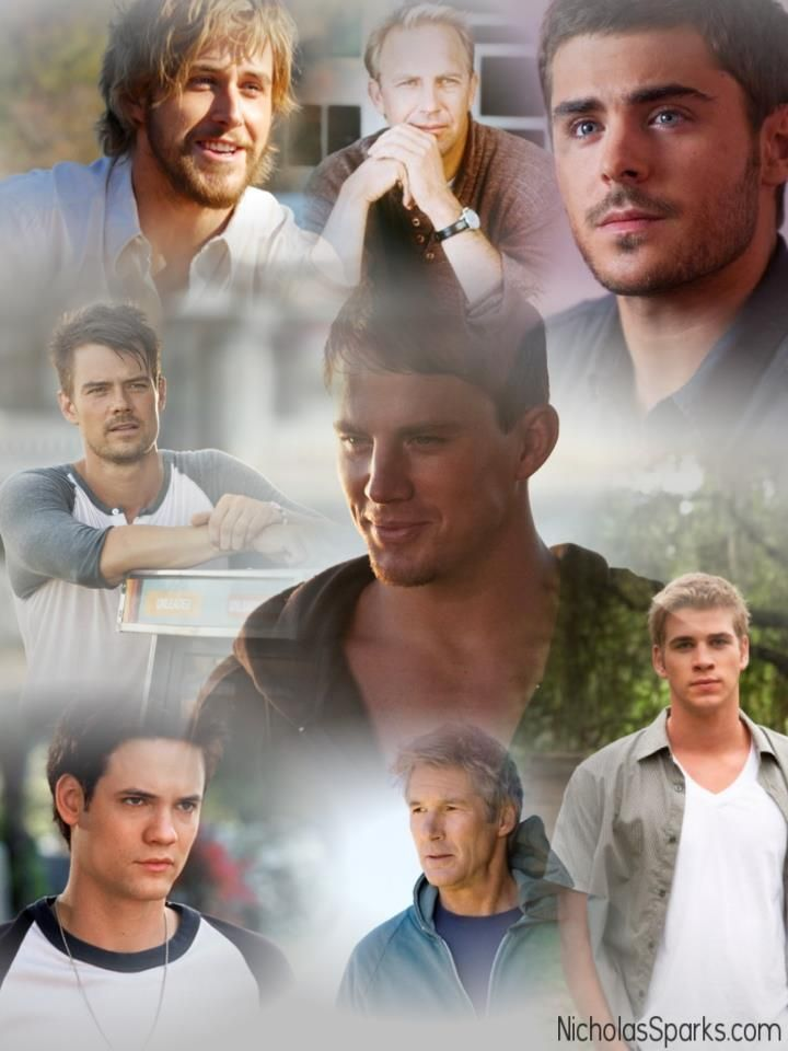 Leading men on Nicholas Sparks movies. The Notebook, Message in a Bottle, The Lucky One, Safe Haven, Dear John, A Walk to Remember, Nights in Rodanthe and The Last  Song