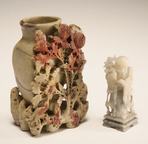 Two Antique Chinese Soapstone Carvings Large Vase With Floral Arrangement And Smaller Man