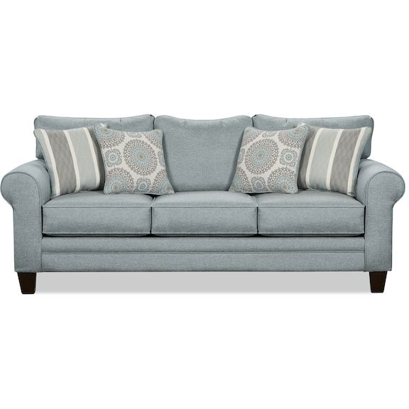 Tula Fabric Queen-Size Sofa Bed – Mist (The Brick). Maybe??? Can't find reviews so could be a gamble. Lots of other sofa beds from The Brick are poorly reviewed online.