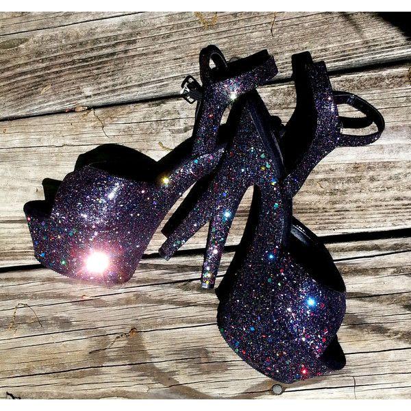 DARK STARR VIXEN black glitter goth sexy pinup girl 6 inch Pleaser... (1 805 ZAR) ❤ liked on Polyvore featuring shoes, pumps, sexy black pumps, sexy pumps, black kitten heel pumps, sexy high heel shoes and glitter platform pumps