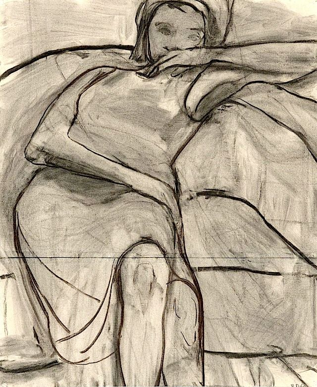 Untitled (Woman on Sofa) 1966   Richard Diebenkorn    charcoal on joined paper 72  × 59  cm.   The Richard Diebenkorn Foundation