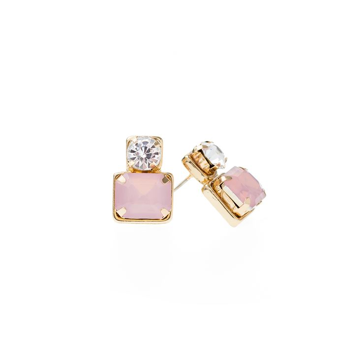 Hand crafted double square studs embellished with topaz and pink Austrian crystals. Gold plated and high polish finish, wear these earrings during the day or in the evening. Their colorful simplicity makes them easy to wear and match with most things.