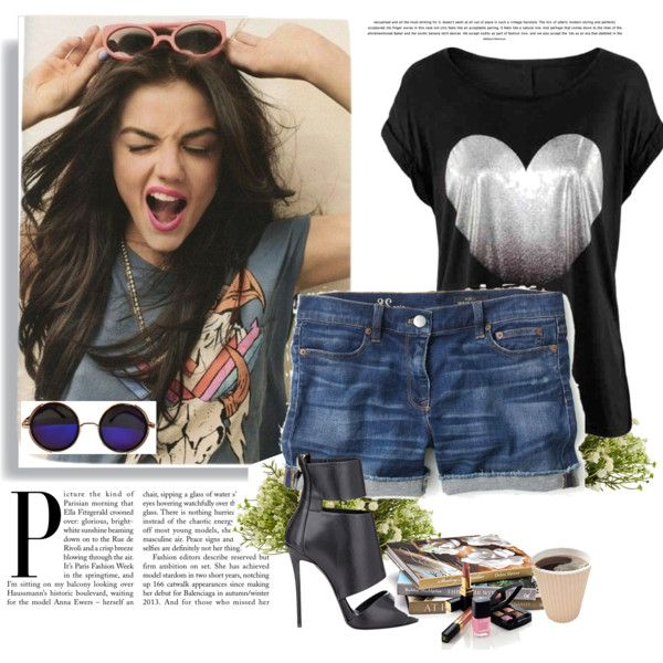 rock by leoposadas on Polyvore featuring beleza, J.Crew, Giuseppe Zanotti, Nearly Natural and Chanel
