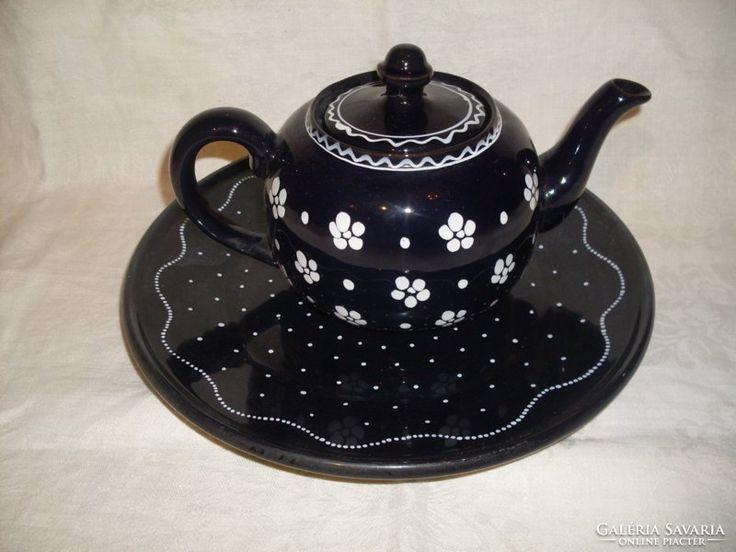 Városlődi teás  kancsó és süteményes  tál