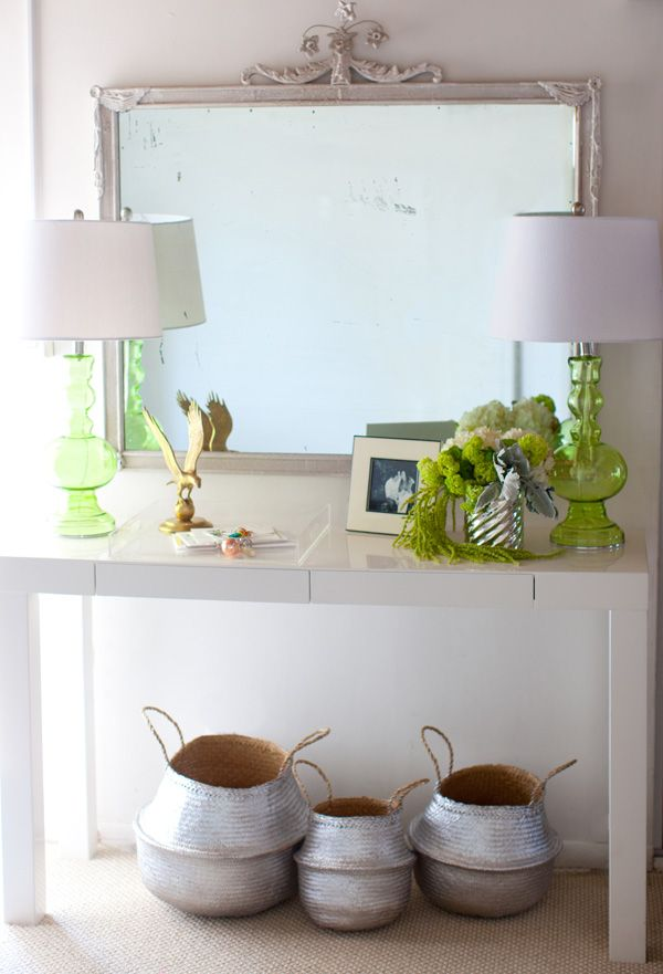 metallic and neon entryDecor, Sprays Painting, House Tours, Entry Tables, Consoles Tables, Hall Tables, Silver Baskets, Green Lamps, Painting Baskets