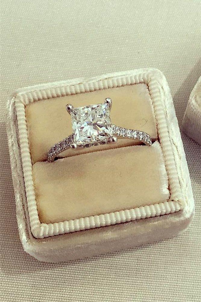 21 Breathtaking Princess Cut Engagement Rings ❤️ See more: http://www.weddingforward.com/princess-cut-engagement-rings/ #wedding