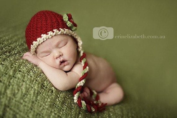 1 to 2 years Baby Girl Red White and Green Earflap by EcoStreet, $39.00