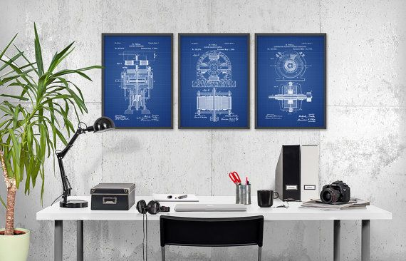 Tesla Patent Prints Set Of 3 - Nikola Tesla Engineering Invention Patent - Tesla Electric Motor - Science Student Gift Idea