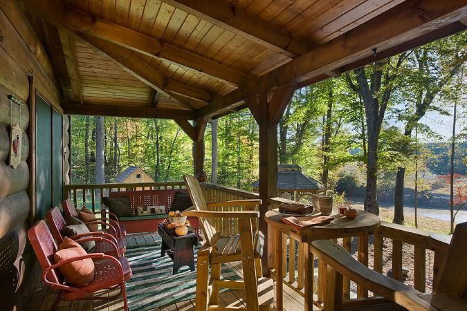 17 best images about porches decks on pinterest porch for Log home decks