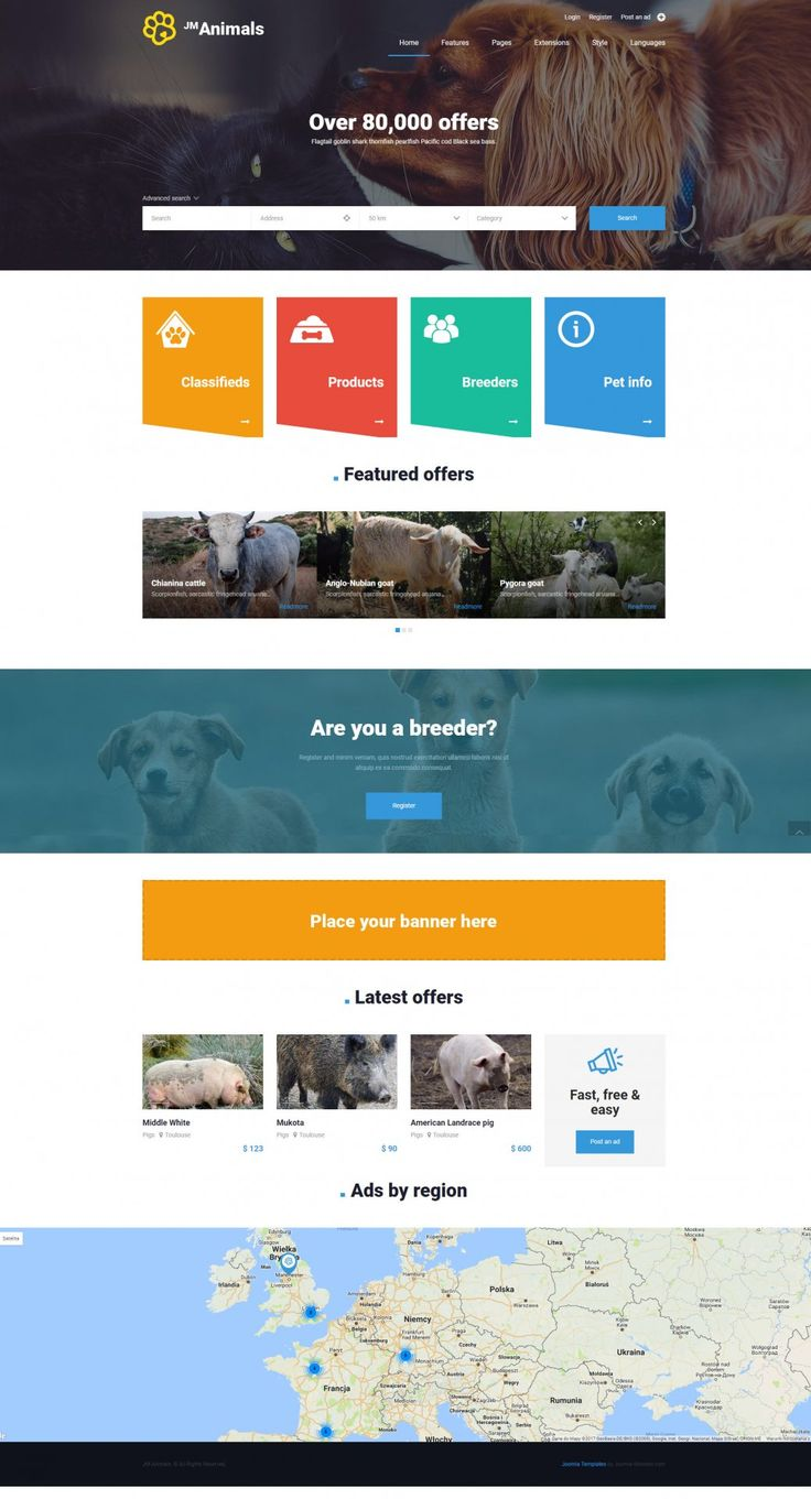 JM Animals - wonderful Joomla animals template designed for pet and animal websites.  Example for classifieds ads site . #animal #animals #Joomla #template #website #templates https://www.joomla-monster.com/joomla-templates/i/224-jm-animals