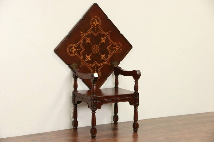 Scandinavian 1900 Antique Combination Chair & Folding Table, Mahogany, Marquetry $495