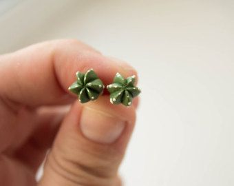 Check out Green Cactus Cacti Succulent Stud Earrings Studs Wholesale Small Hypoallergenic Earstuds Succulent Plants Jewelry Wedding Bridal Birthday on eteniren