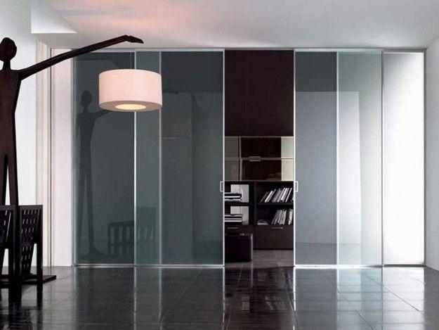 Parete divisoria in vetro - Parete divisoria mobile in vetro trasparente