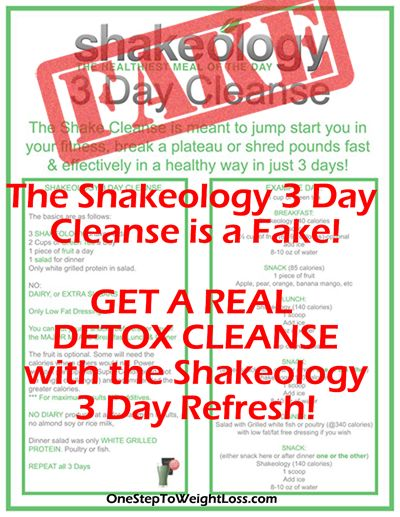 The Shakeology 3 Day Cleanse is a fake! To really Detox your body and lose weight, you want the Shakeology 3 Day Refresh. Find it here: http://www.onesteptoweightloss.com/beachbody-3-day-refresh-review #3DayWeightLoss