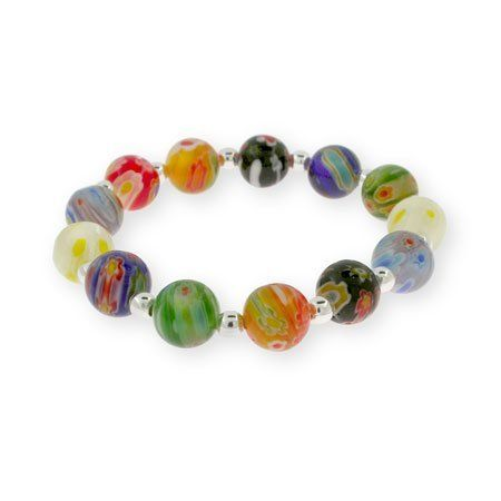 Silver Millefiori Venetian Glass Round Bead Bracelet Eve's Addiction. $25.00. Metal Finish: sterling-silver-rhodium-finished