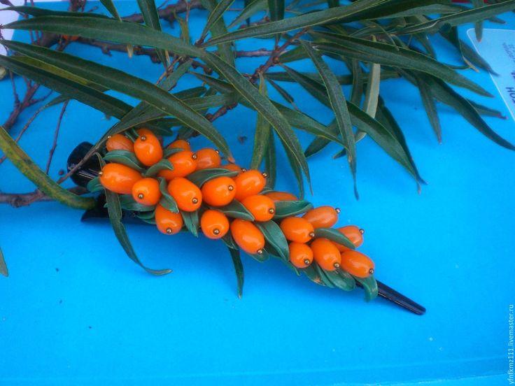 """Купить зажим для волос """"Облепишка"""" - оранжевый, облепиха, облепиховый, ягоды, ягоды и листья"""