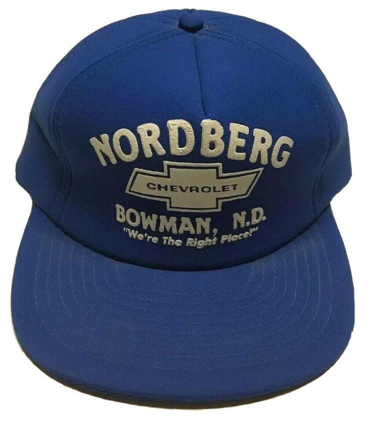 Vtg Nordberg Chevrolet Trucker Hat Bowman North Dakota Cap