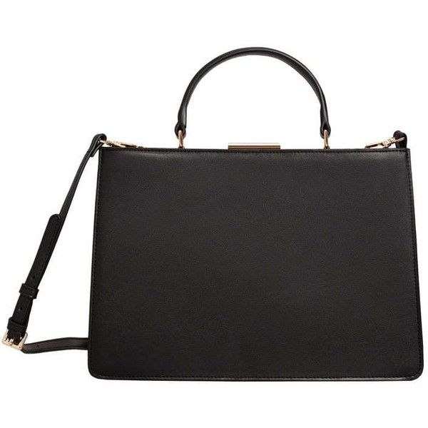 MANGO Briefcase-style bag (225 PEN) ❤ liked on Polyvore featuring bags, handbags, black, strap bag, mango bags, long bags, lining bag and metallic bag
