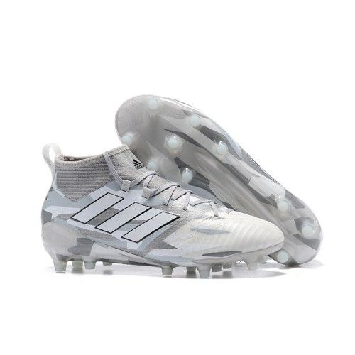 Comprar 2017 Adidas ACE 17.1 FG ACC Botas de fútbol Blanco Gris Sala Baratas