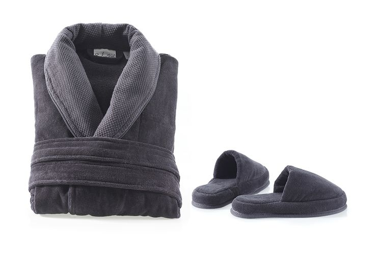 Velour Combed Cotton Bathrobe & Slippers - Charcoal