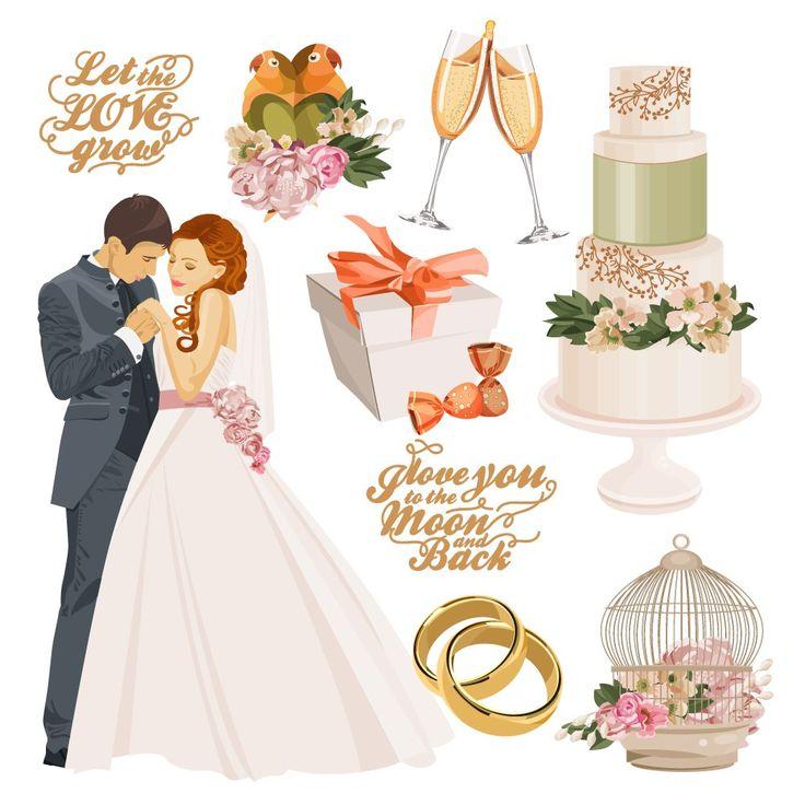 Картинки на свадебную тему, жених, невеста, кольца, вектор