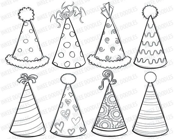 18 best images about anniversaire dessin on pinterest for Coloring pages of birthday hats