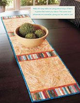 This table runner is reversible and used pre-cut strips. What could be better?