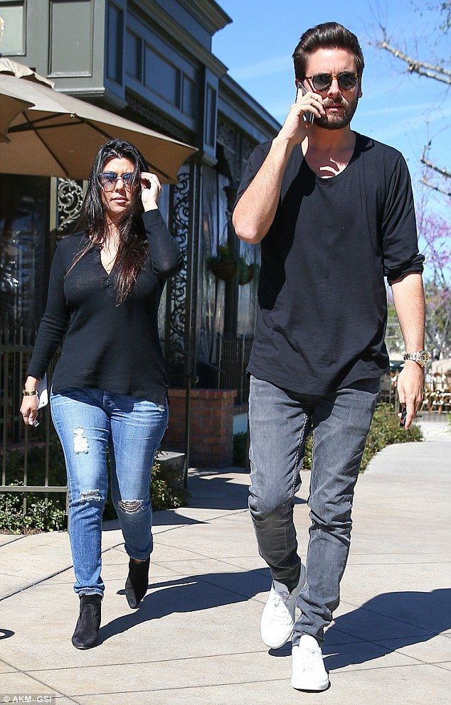 Lunch date: Kourtney Kardashian and Scott Disick head for a kids-free lunch at King's Fish...