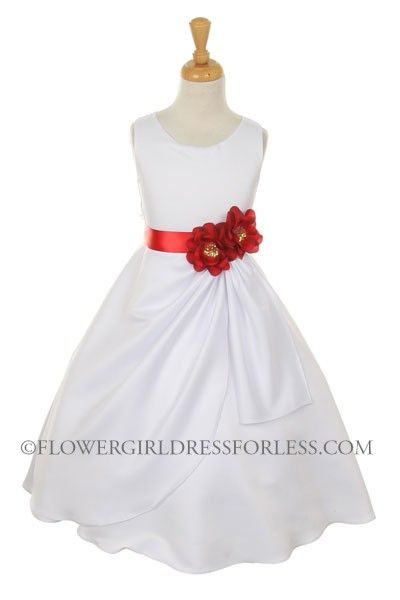 CC_1165R - Girls Dress Style 1165- Choice of White or Ivory Dress with Red Ribbon and Flower - Red - Flower Girl Dress For Less