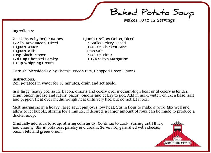 The Machine Shed's Famous Baked Potato Soup Recipe