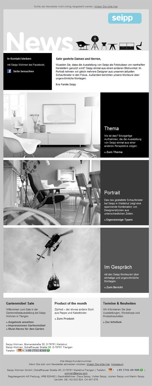 Modern Black And White Email Design For Seipp