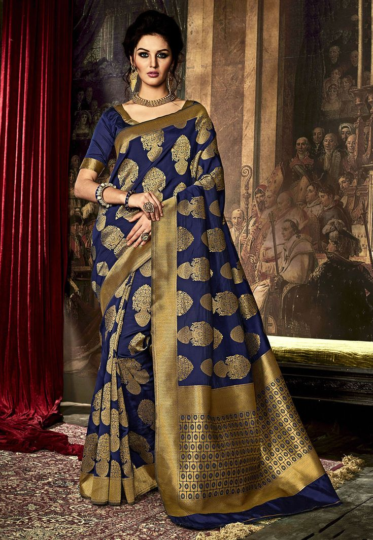 Art Kanchipuram Silk Saree in Navy Blue Woven in Zari Available with an Unstitched Art Kanchipuram Silk Blouse in Navy Blue Free Services: Fall and Edging (Pico) Do Note: All accessories shown in image is for presentation purpose only(Slight variation in actual color vsimage is possible)