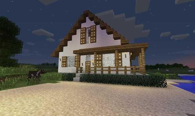 Quartz Pillars Look A Lot Like White Wood Makes A Perfect Farmhouse Minecraft Farm House Minecraft Farm Minecraft House Designs