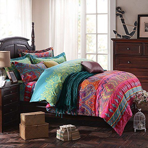 LELVA Ethnic Style Bedding Sets Morocco Bedding American Country Style Bedding Bohemian Style Bedding Boho Duvet Cover Queen King Size (Fitted Sheet-King)
