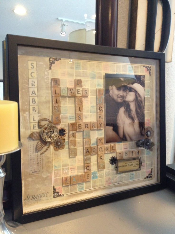 Scrabble art framed keepsake - what a great anniversary/wedding/valentine gift this would make!