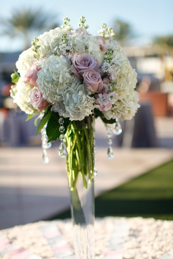 Tall white hydrangea pink rose centerpiece wedding