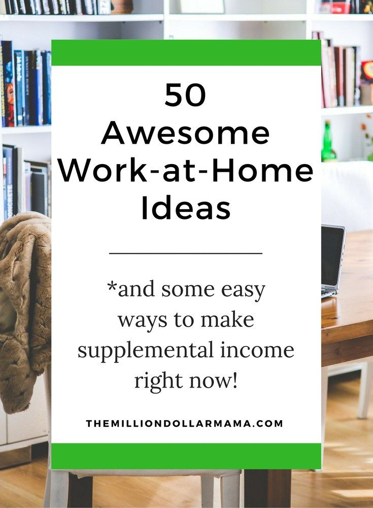 50 awesome work-from-home ideas! A lot of these would make the perfect sahm job, but there are also tons of ideas for anyone wanting to make money online, or work-from-home. There are also some great ways to make supplemental income, too!