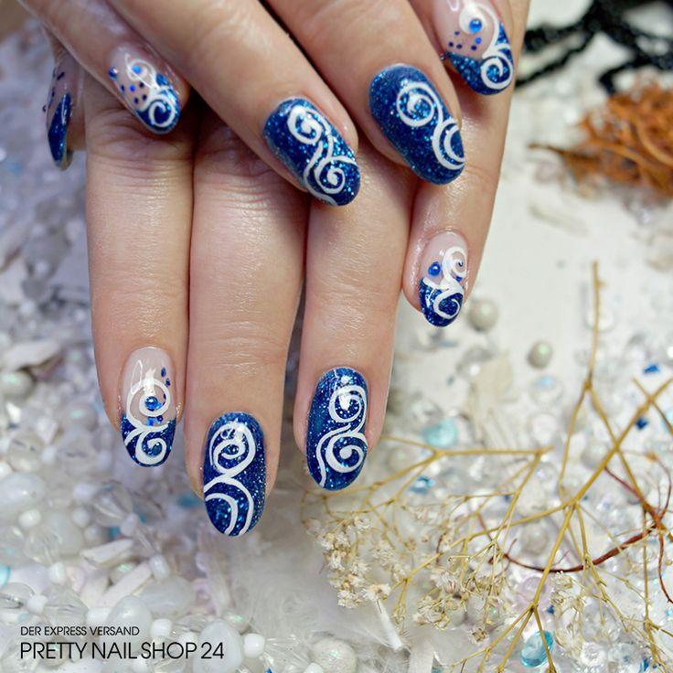 """#deepblue   #trendstyle   #nails   #nailart   Mystisch und geheimnisvoll ist dieses Nageldesign in der Trendfarbe """"deep-blue"""". Um diese atemberaubende Nailart nachzumachen, brauchst Du nicht viel. Mit dem Farbgel saphire rain (Art.-Nr. 5509), das Illusion Glitter III purple-blue (Art.-Nr. 5553), einige Jolifin Nailart Metallic Plates navy blue (Art.-Nr. 4082) und die Jolifin Kreativ Malfarbe weiß (Art.-Nr. 3152)."""