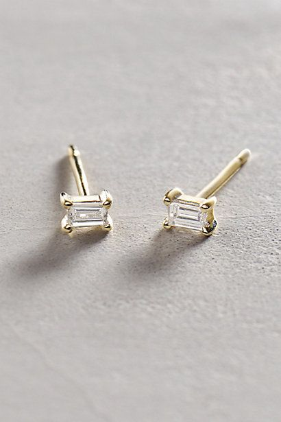Baguette Diamond Posts in 14k Yellow Gold #anthropologie