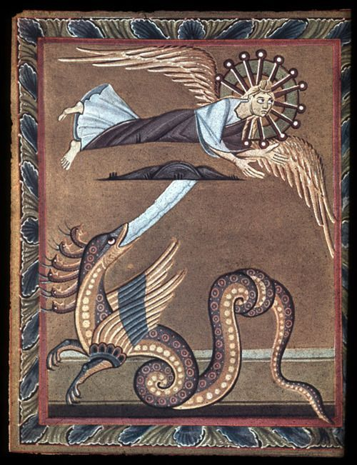 medieval:  Bamberg Apocalypse:Angel and the Serpent Ottonian11th Century Staatsbibliothek Bamberg,Ms. Bibl. 140