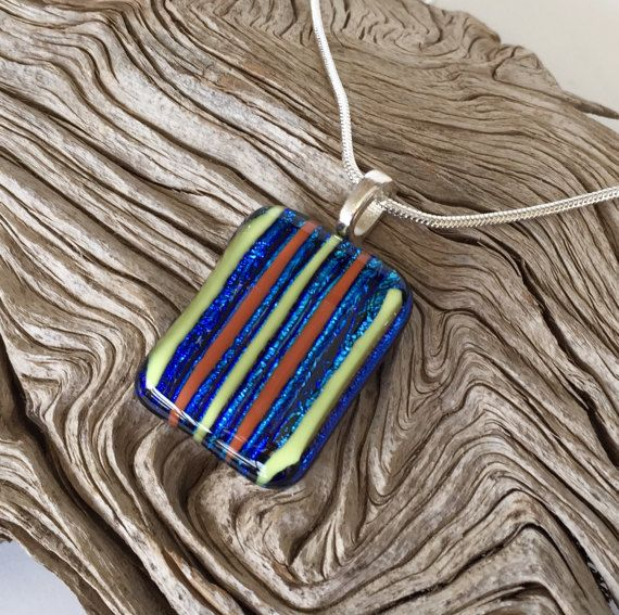 Dichroic Blue Fused Glass Pendant Necklace by GreenhouseGlassworks #blue #dichroic #handmade