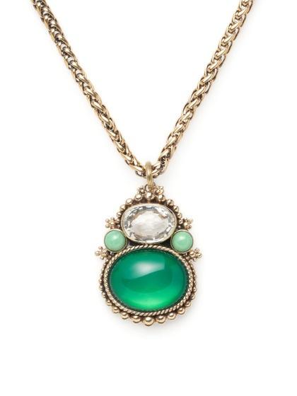 Green Quartz & Crystal Pendant Necklace